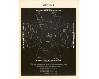 1942 VINTAGE SEPTEMBER LITHOGRAPH constellations star map original vintage celestial astronomy print