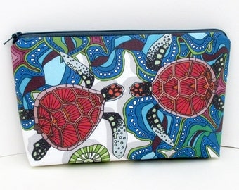 Zippered Cosmetic Bag, Sea Turtles in Love, Make up Zipper Pouch