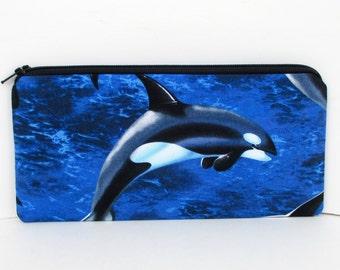 Orca Whale Friends, Long Zipper Pouch, Pencil Pouch