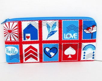 Love Postage, Long Zipper Pencil Pouch, Airmail Valentine Bag. Lettercarrier Gift
