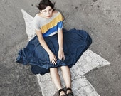 Polka dots skirt in blue, chiffon airy skirt, round cut evening romantic skirt, classic summer woman skirt, prom blue skirt
