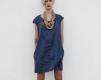 Winter Sale 15% Off!!! A line dark blue stone washed cotton denim mini dress, jeans dress