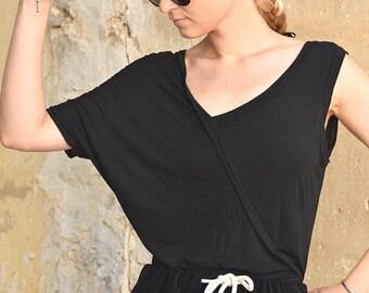 Winter Sale 15% Off!!! under 50, Black asymmetric shirt one shoulder off, extravagant top, grey T-shirt