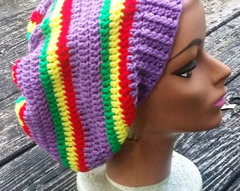light purple rasta slouch beanie hat