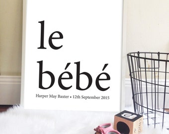 le bebe Custom Birth Poster