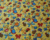 Childrens Fabric,Fabric by the yard,Yellow Fabric,Bugs on yellow fabric,Quilting Fabric,Sewing Fabric,Sewing Supplies,Quilting Supplies