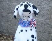 "Patriotic Star Collage Dog Scrunchie Collar - striped chiffon flower - L: 16"" to 18"" neck"