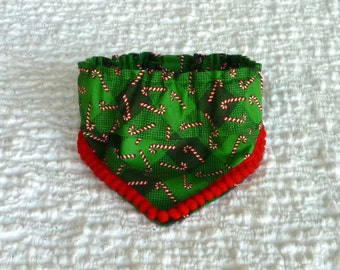"Dog Bandana, Pet Scarf, Candy Cane Plaid Fancy Bandanchy with red pom pom trim - Size XS: 10"" to 12"" neck"