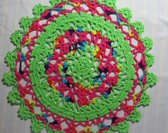 Lime Green Doily-10.25 inch Doily-Rainbow Doily-Variegated Doily-Hand Crocheted Egyptian Cotton Doily-Cindy's Loft