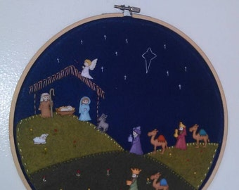 Nativity scene - embroidered, felt, buttons, Baby Jesus - large