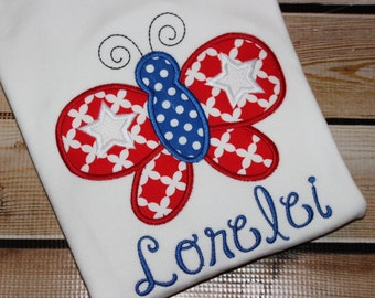 Personalized July 4th Red and Blue Patriotic Butterfly Shirt