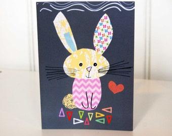 Cute Rabbit in His Favourite Chevron Jumper. Greetings Card