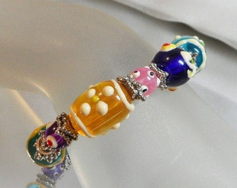 SALE Vintage Art Glass Bracelet. Glass Beads. Handmade Beads. Candy. Blue. Yellow. Pink. Purple. Easter. Spring.