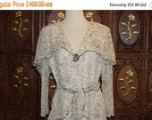 ON SALE 1980s Holly's Harp Cream and Black Floral Silk Crepe Dress  Sz M