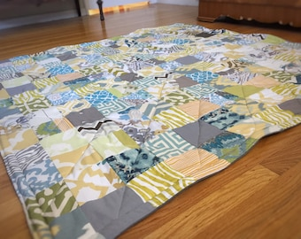 Super Size Playful Patchwork Playmat. Double Padded Baby Floor Mat in Soft Gender Neutral Colors. Ready to Ship