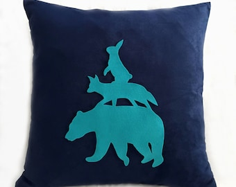 Stacking Animals Navy And Turquoise Pillow Cover. Woodland Animals Nursery Decor. Hand Cut  Bear Fox Rabbit. Decorative Cushion Cover