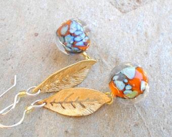 Lampwork Earrings, Gold Leaf Earrings, Handmade Jewelry, Unique Glass Long Dangle Drop Earrings, Handmade Earring Gift for Her