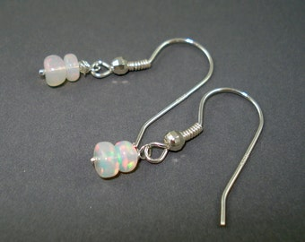 Opal Earrings, Petite Ethiopian Fire Opals on Sterling Silver French Wires, Double Rondelles ON SALE