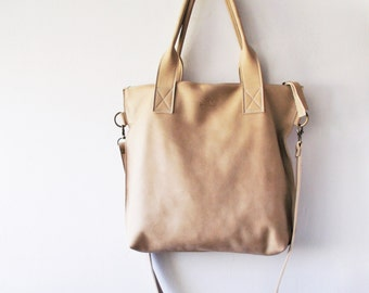Beige  leather tote - Handbag - Cross-body bag - Every day bag - Women bag - Shoulder leather bag