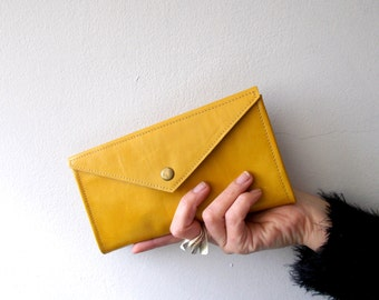 Yellow envelope  wallet - leather women wallet