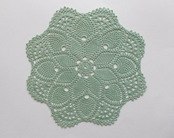 Crochet Doily Large Green Cotton Lace Table Topper with Star Center Pineapple Motif and Large Fans Heirloom Quality
