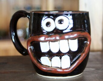 Awesome Coffee Cup. Large 16 Ounce Hot Tea Mug. SillyFace Mug. Big Pottery Cups and Mugs in Dark Chocolate Black. Father Mother Son Gift.
