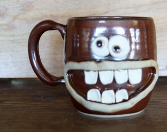 Red Coffee Cup. Funny Pottery Mugs. Large Smiley Face Mug. Happy Cheerful Morning Coffee Cup. Cinnamon Spice Red. Goofy Gag Gift.