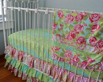 Emma Rose Crib Bedding- 3 Piece Set- Ready to Ship