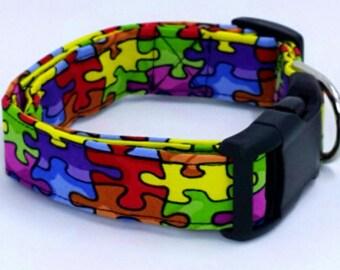 Awesome Autism Awareness Puzzle Piece Dog Collar