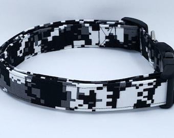 Urban Digital Camouflage Dog Collar Black White Grey Camo