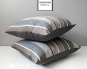 Brown & Grey Outdoor Pillow Cover, Decorative Striped Throw Pillow Case, Taupe Stripes, Modern Sunbrella Pillow Cushion Cover Masculine