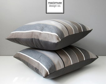 Brown & Grey Striped Outdoor Pillow Cover, Decorative Pillow Case, Taupe Stripes, Modern Sunbrella Cushion Cover Masculine Pillow Covers