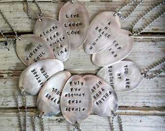 Spoon Necklace, Personalized Stamped Spoon Jewelry, Re Purposed Fatware Necklace - Build Your Own Custom Stamped Spoon Necklace,