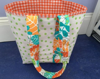 Small retro/modern green polka dot oilcloth tote bag for children and adults