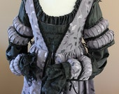 "ON HOLD Bust 34"" Black and Lilac Italian Borgia Lucrezia Dress Renaissance Medieval Game of Thrones Tudor Gown"