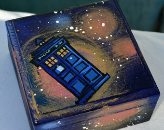 """TARDIS Hand Painted Doctor Who box flying through Space and Time.  """"don't blink"""" painted on inside with more """"space"""".  Great gift!"""