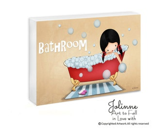 Bathroom door sign , kids bathroom decor, Personalized bath door plaque, kids bathroom art, girls bathroom art,kids name sign,gift sign