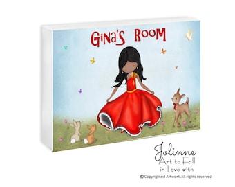 Custom name sign baby girl room decor Personalized door sign for kids room,nursery door sign, kids art,Girl dancing wall sign,birthday gift