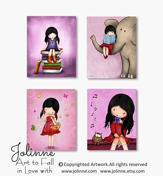 Girls wall art prints, nursery wall decor, children art, kids room decor, purple, pink, elephant , owl , books , Set of 4 prints, drawings
