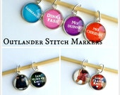 Outlander Themed Stitch Markers (Set of 8) w/ Coordinating Large or Small Storage Tin