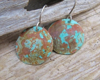 Small Disc Handmade Copper Earrings Blue Green Patina Jewelry