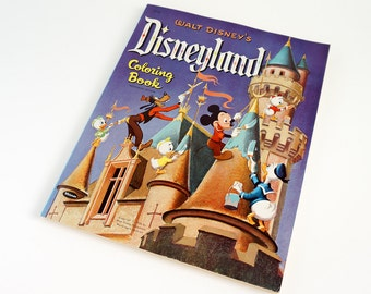 REDUCED Vintage 1950s Rare Walt Disney's Disneyland Coloring Book 1956 VGC / Disney Coloring Book Collectible, 8 Pages of 160 Colored