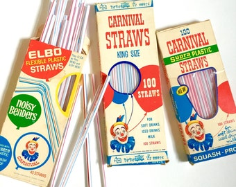 Vintage 1960s Carnival Straws in Box Set of 3 / Striped Plastic, King Size, Bendable, Clown, Red White Blue / Birthday Party, Picnic Supply