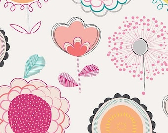 Playing Pop Fabric Collection From Art Gallery Floral Dums Punch Sketched Flower Drawings Flowers on Light Pink