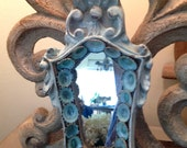 Beach Chic Mirror Blue Limpets Wall Art Romantic French Baroque Style