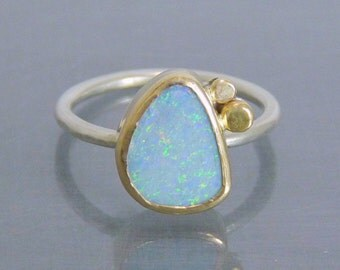 Opal Ring in 14k Gold and Sterling Silver - Handmade