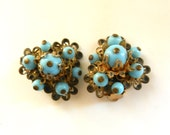 RESERVED for Kay - 1930s exquisite turquoise glass beads cluster Earrings - Lovable gold flowers line with glossy stones - Art.958 --