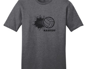 Custom Volleyball Breaking Through Wall - Personalized Sports T-Shirt