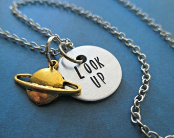 look up - hand stamped aluminum space necklace with gold saturn charm