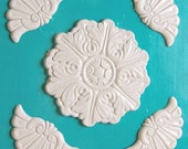 Painted Wood Onlays White 5 Pieces Brich and Oak Appliques